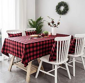 LAGHCAT Buffalo Plaid Tablecloth, 55 x 70 Inch Red Black Rectangular Cotton Tablecloths for Christmas Parties, Dinner Dining Farmhouse Decor
