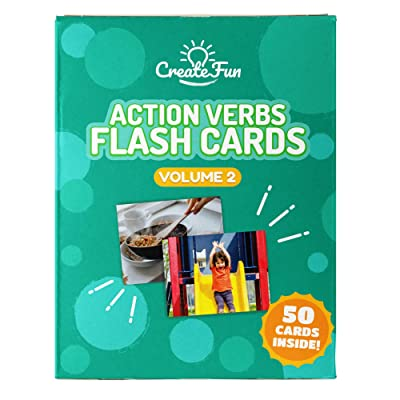 Action Verbs Flash Cards Vol 2 - 50 Vocabulary Builder Picture Cards - with 6 Teaching Activities & Games for All Ages – Including Parents, Teachers, Speech Therapy Materials & ESL Teaching Materials: Toys & Games