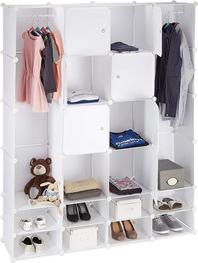 Relaxdays Armario Dormitorio Modular, Blanco, 36.5x146x180 cm ...
