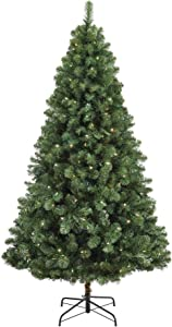 NOMA 6.5-Foot Pre-lit Christmas Tree with Lights | Kawartha | 200 Clear Warm White LED Bulbs | 800 Branch Tips