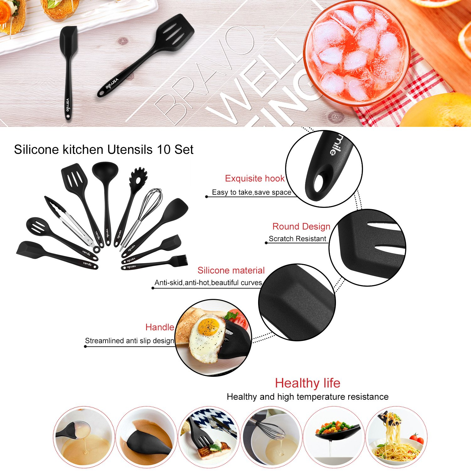 Silicone Kitchen Utensils 10 Sets,Heat Resistant Non Stick Easy To ...