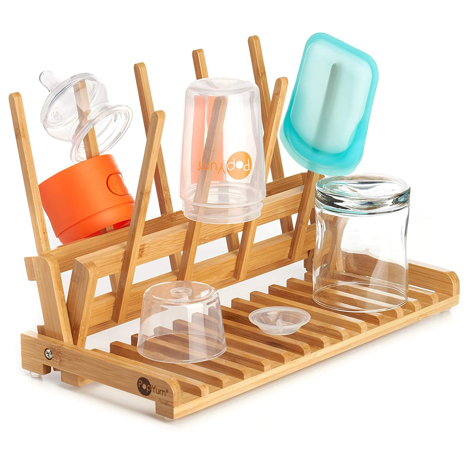 PopYum Space Saving Bamboo Drying Rack, Countertop Wood Folding Collapsible for Baby Bottle, Plastic Bag, Cup, Glass, Silicone, Water Bottle, Wooden, FSC Certified, Compact