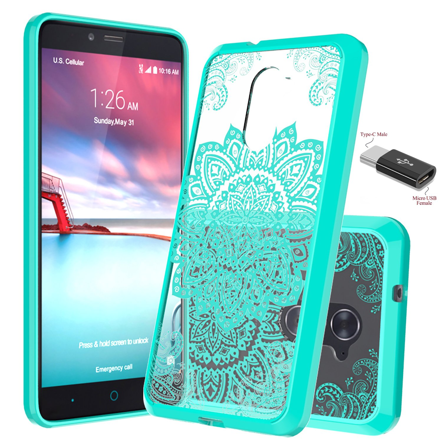 reputable site 09440 d8d5f ZTE Imperial Max case, ZTE Z963U case, ZTE Max DUO LTE Case, ZTE Grand X  Max 2/ ZTE Kirk Z988 case, Wtiaw Acrylic Hard Cover With Rubber TPU Bumper  ...