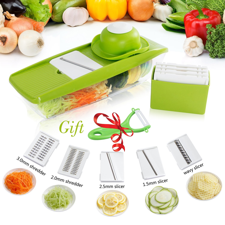 CACASO Mandoline Premium Vegetable Potato Slicer Grater Cutter for Tomato Onion, Cucumber, Zucchini Pasta, Cheese, Julienne Veggie Peeler Chopper Kitchen, Green by CACASO