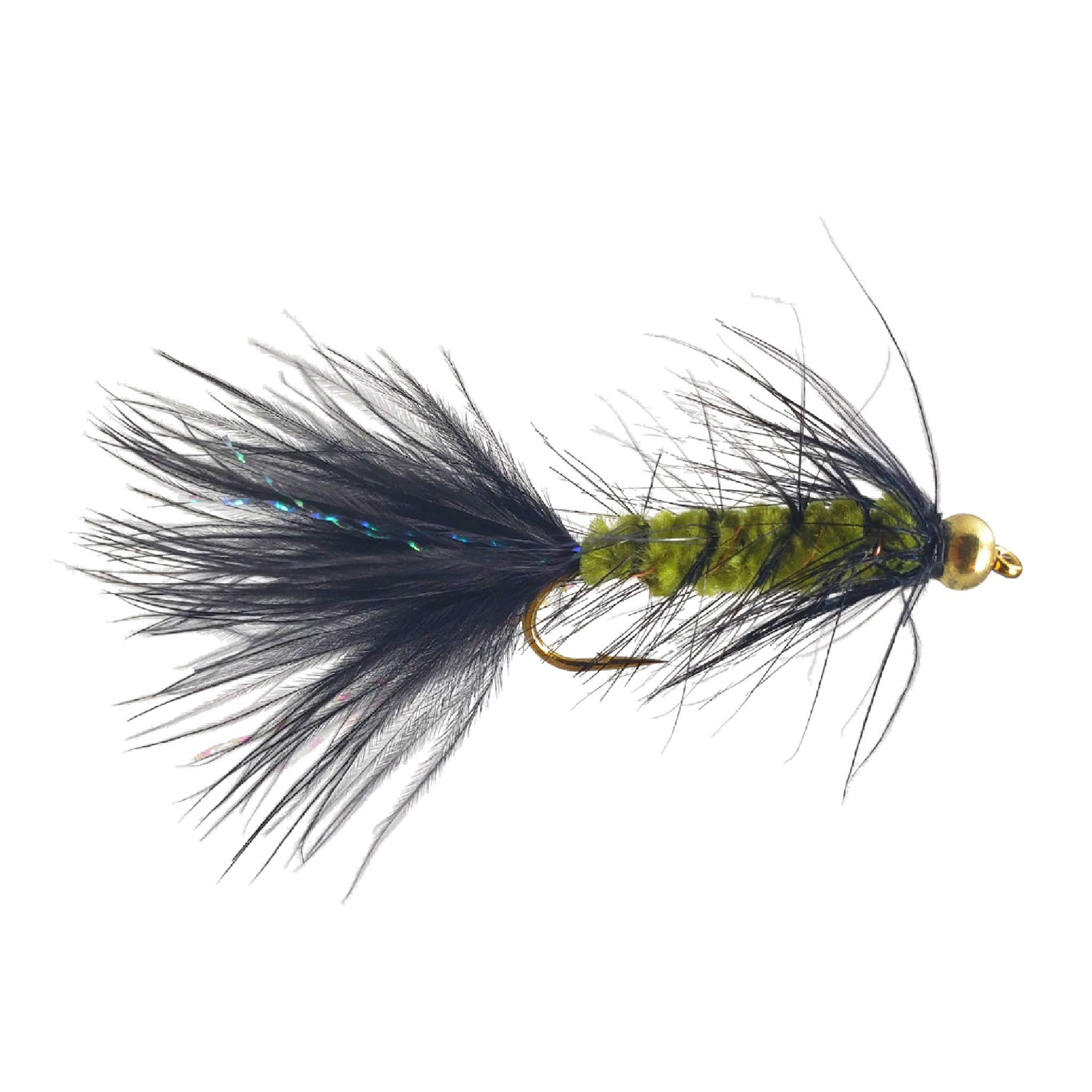 The Fly Crate Bead Head Woolly Bugger Fly Fishing Assortment for Trout Bass Panfish (Olive Black, Size #12 | 6 Pack) by The Fly Crate