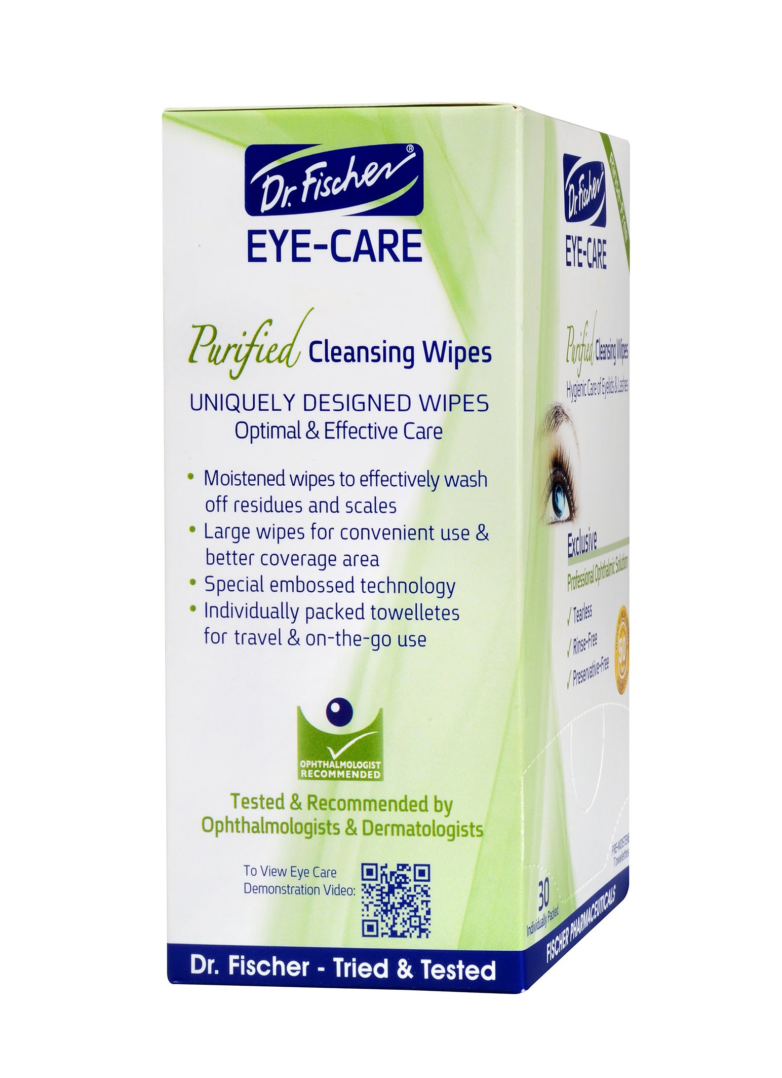 Dr. Fischer Premium, Purified, Non-Irritating & Hypoallergenic Eyelid Wipes Pre-moistened for complementary treatment of Red Eye, Dry Eye, and Blepharitis & Conjunctivitis Cleanses Make-up (Pack of 6) by Dr. Fischer (Image #3)