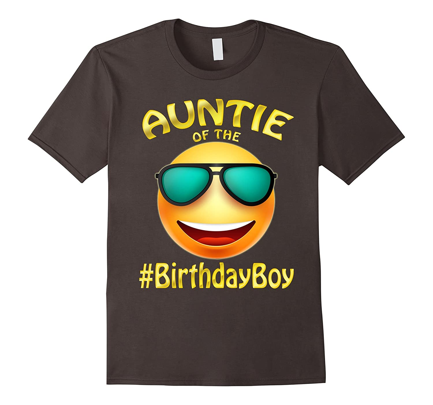 Auntie Of The Birthday Boy Emoji T-Shirt for cute Aunt Party