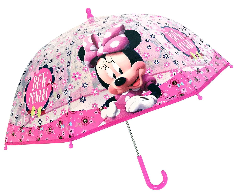 Chanos - Parapluie transparent Disney Minnie avec des fleurs 45 cm Light Pink Parapluie Pliant Rose (Light Pink) Chanos_36293