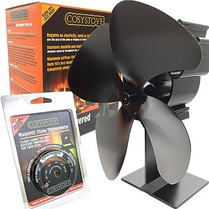 Ventilador de 4 hélices, con potencia calorífica para estufa de leñ