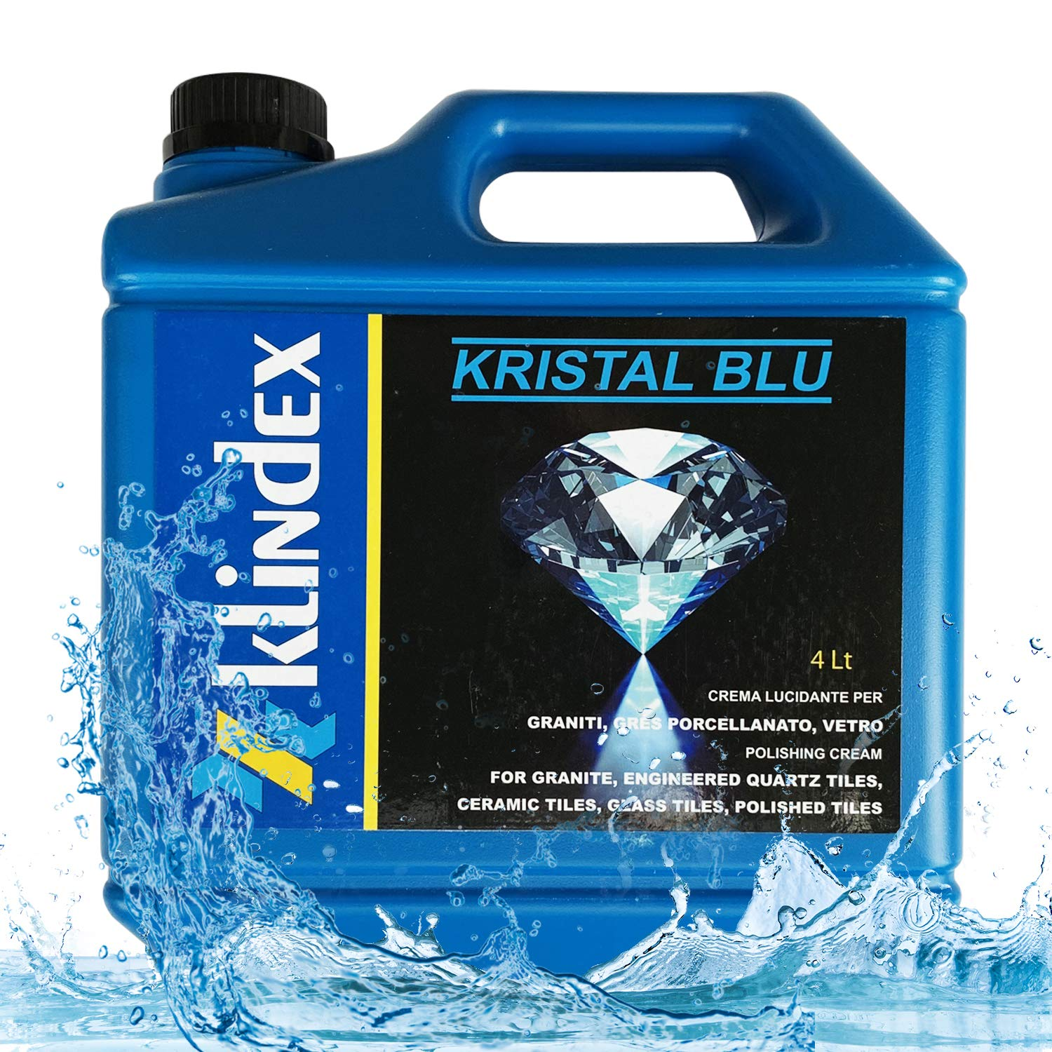Klindex Kristal Blue Granite Polishing Cream - Stone, Tile Crystallizer - High Gloss, Strength and Wear Resistant Protection from Dust, Acid/Alkali, Scratches and Stains - 4L/1.05 Gal - Made in Italy by Klindex (Image #1)