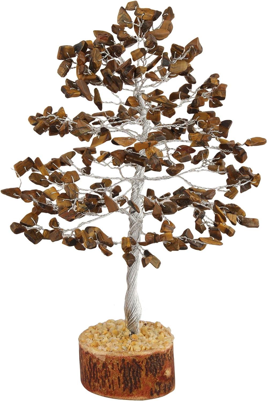Zaicus Gemstone Money Tree Feng Shui Bonsai Reiki Healing Stone Chakra Balancing Energy Generator Aura Cleansing Spiritual Gift Good Luck Home Office Decor (Tiger Eye Silver Wire 10 Inches)