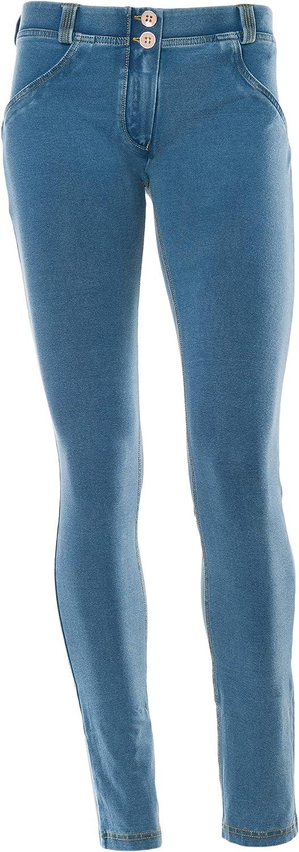 Freddy WR.UP Women's Low Waist Skinny Dark Wash Effect Denim Blue (Hellgelb)