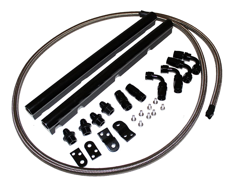 For GM Chevy Billet Aluminun LS1 LS6 Intake Fuel Rails Kit black
