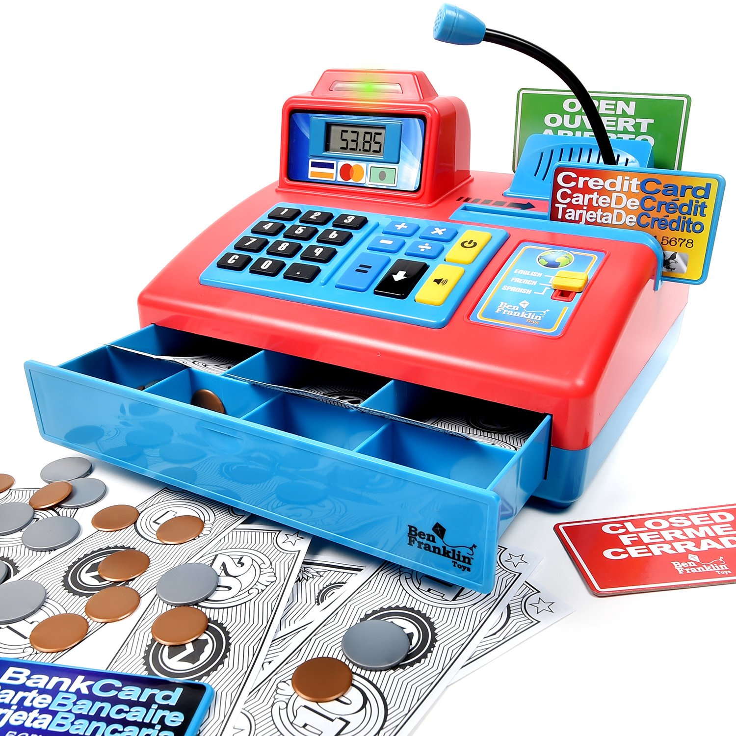 credit card bank card and play money store learning play set with 3 languages Ben Franklin Toys Talking Toy Cash Register paging microphone