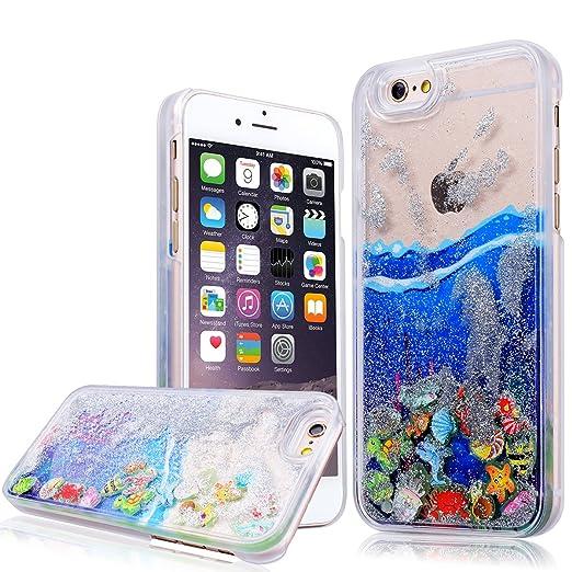 1 opinioni per WE LOVE CASE iPhone 6 6s Cover Transparente Cristallo Chiaro Quicksand Glitter