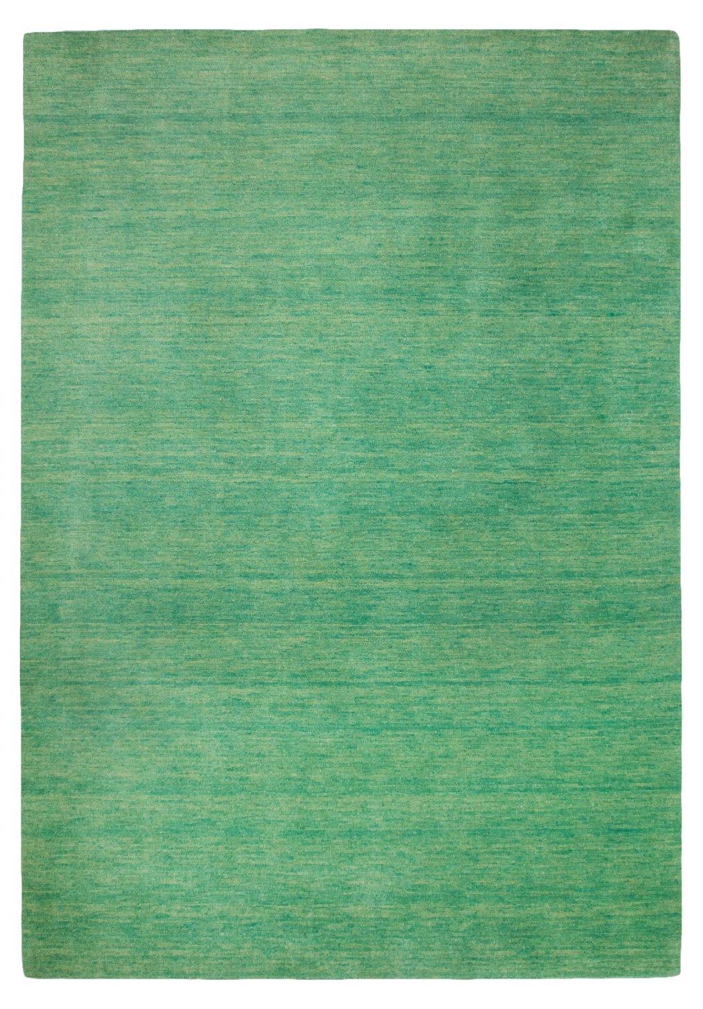 Morgenland Gabbeh Teppich UNI 140 x 70 cm Brücke Grün Seegrün Einfarbig Melierung Modern Orient Teppich Handgearbeitet 100% Schurwolle Wollteppich Weich Dicht Fest Kuschelig Gemütlich Für Wohnzimmer Kinderzimmer Flur Küche -