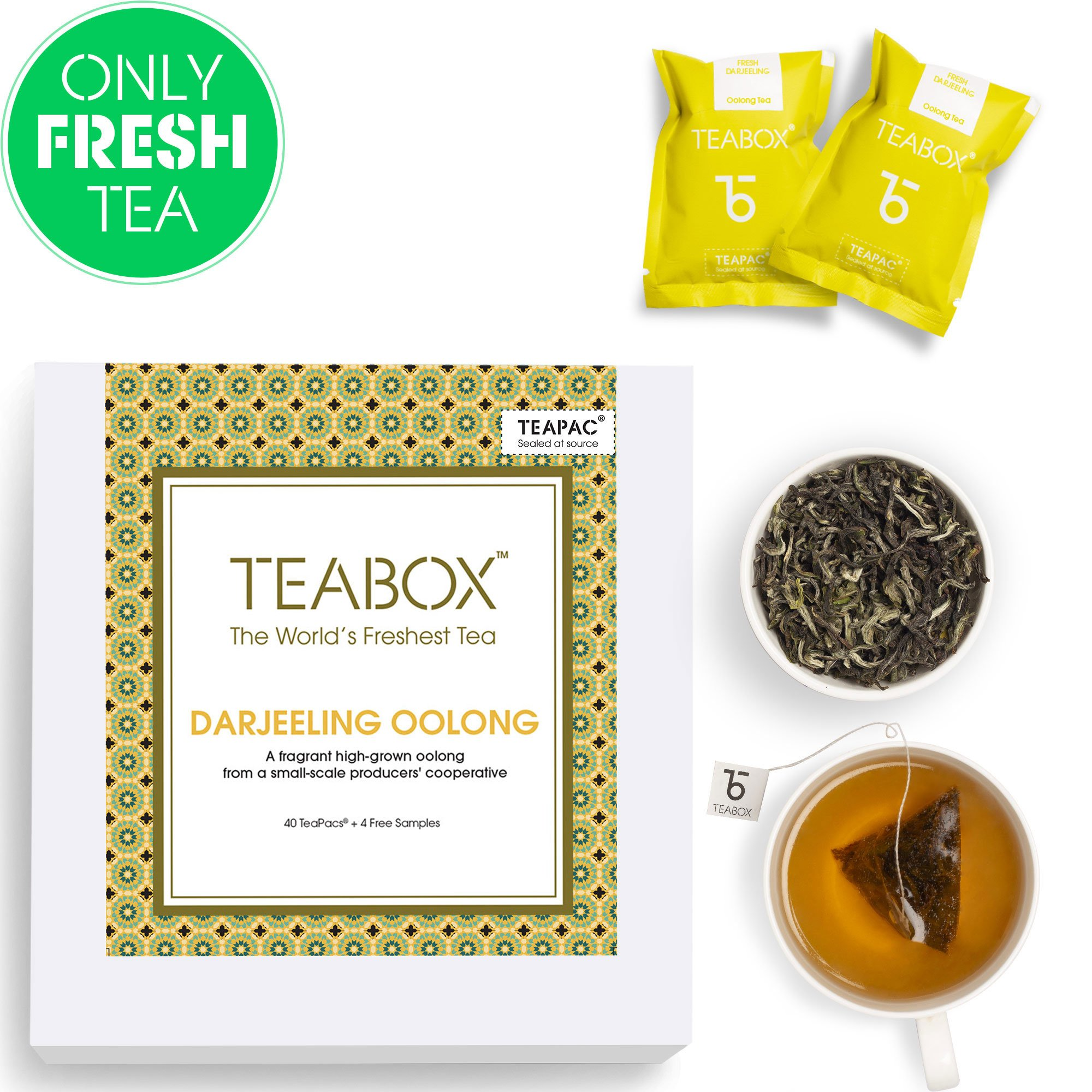 Teabox Darjeeling Oolong Tea, 44 Teabags (4 Free Exotic Samples Included)  100% Natural Darjeeling CTM Oolong Tea   Whole Leaf Weight Loss Oolong Tea   Sealed-at-Source Freshness from India