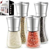 "Salt and Pepper Grinder Set - 4 Pack 6OZ Stainless Steel Salt and Pepper Mills including 2 Tall 7.5"" and 2 Short 5.3…"