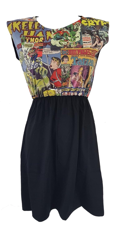 a3b3a0529871 Cupcakes and Chopsticks Comic Book Black Skater Dress - Size 10 12 14 -  Geek Chic Superhero Rockabilly  Amazon.co.uk  Clothing