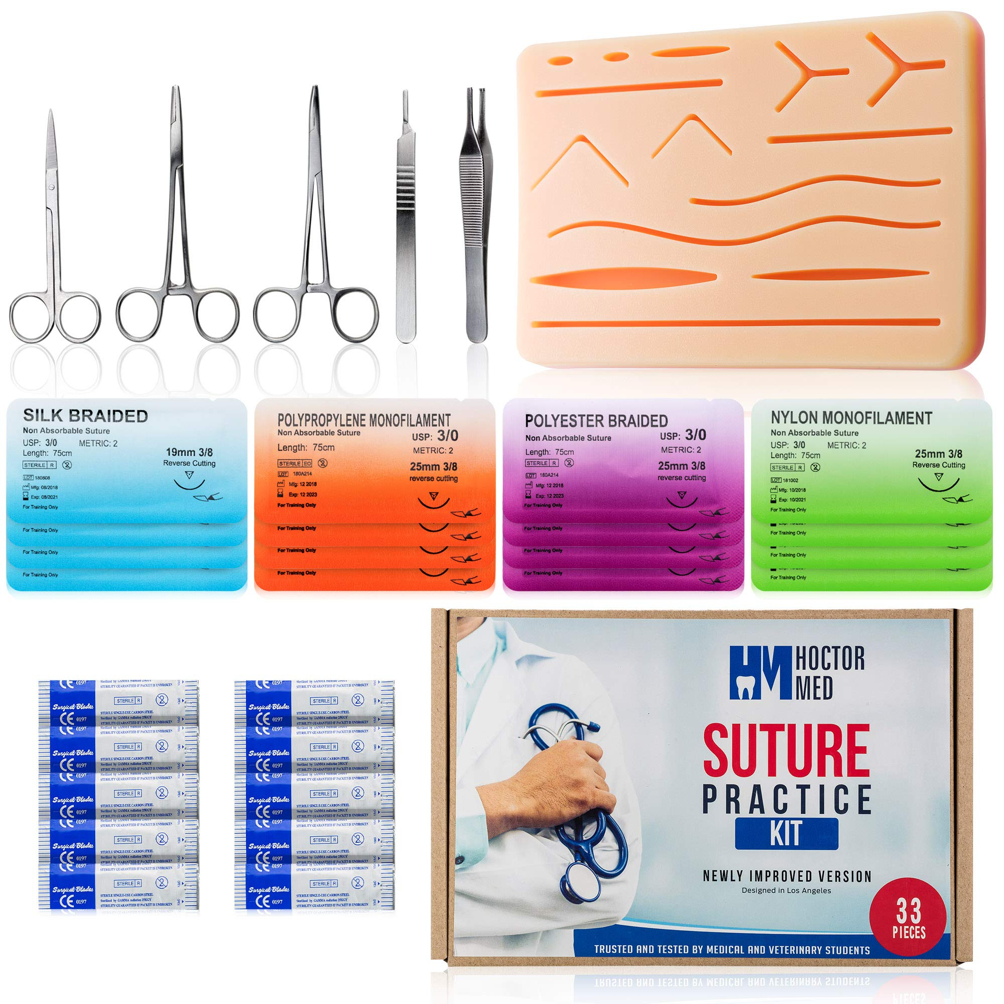 Suture Practice Kit for Suturing Training: Advanced 30 Piece Suture Kit with Large Pre-Cut Silicone Wound Suture Pad, Suturing Tools, 4 Types Threads & Storage Case - Medical Training Surgical Sutures by Hoctor Med