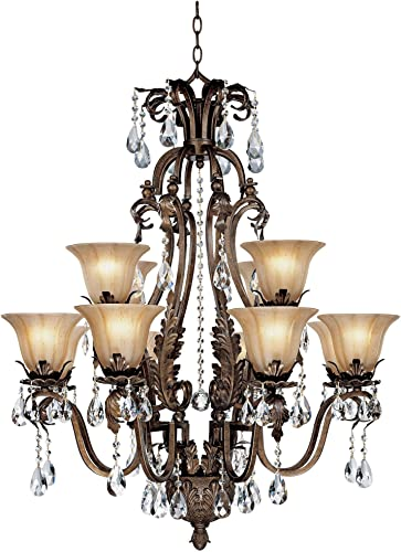 Iron Leaf Roman Bronze Large Chandelier 34″ Wide Two Tier Crystal Droplet Creme Smoke Glass 12-Light Fixture Dining Room House Foyer Kitchen Island Entryway Bedroom Living Room