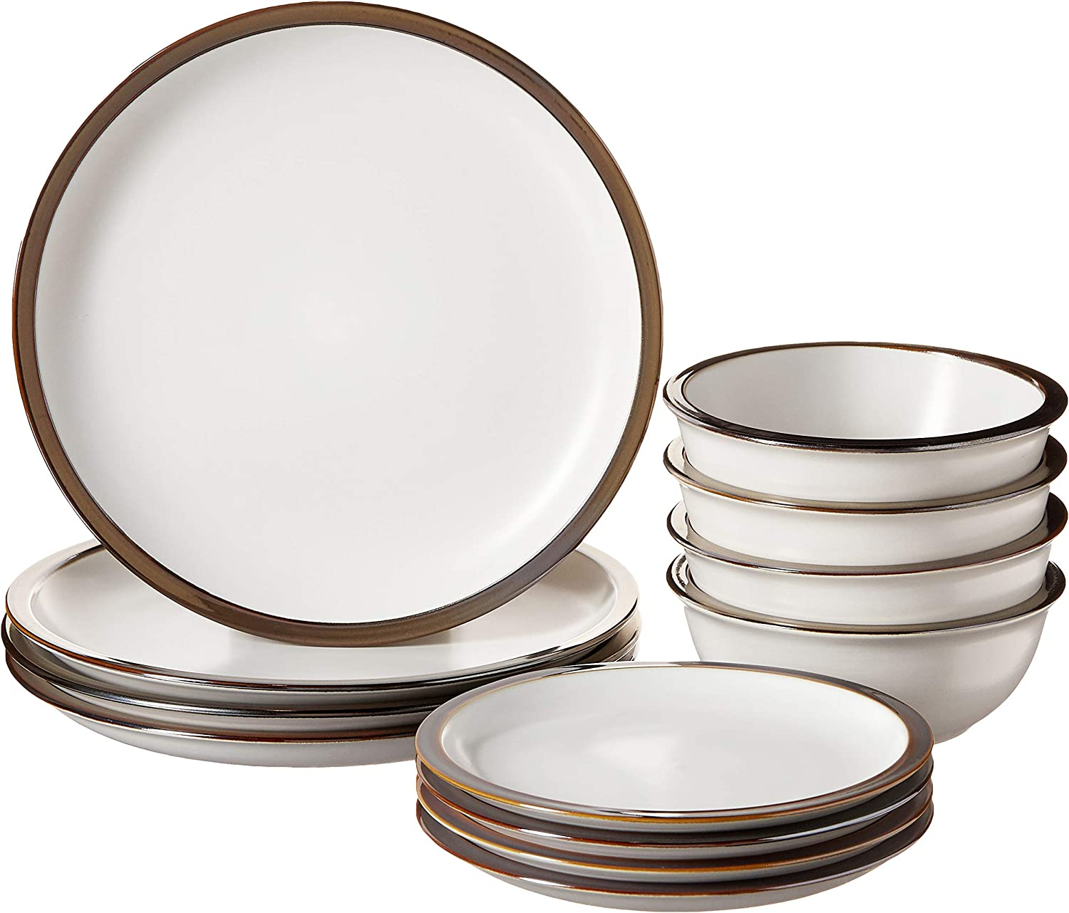 """Elle Décor Metallic Round Dinnerware Set – 12-Piece Stoneware Party Collection w/ 4 Dinner Salad Plates, & 4 Bowls –Gift Idea for Special Occasions, 10.5"""", White"""