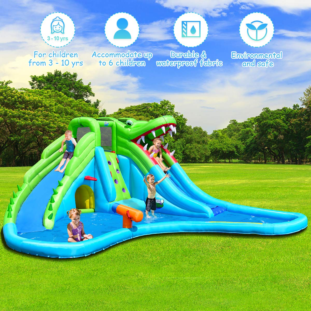 Costzon Inflatable Pool Bouncer, Crocodile Themed Bounce House w/Two Water Slides, Climbing Wall, Basketball Rim, Tunnel, Kids Water Park, Including Carry Bag, Hose, Repair Kit, 780W Air Blower by Costzon (Image #2)