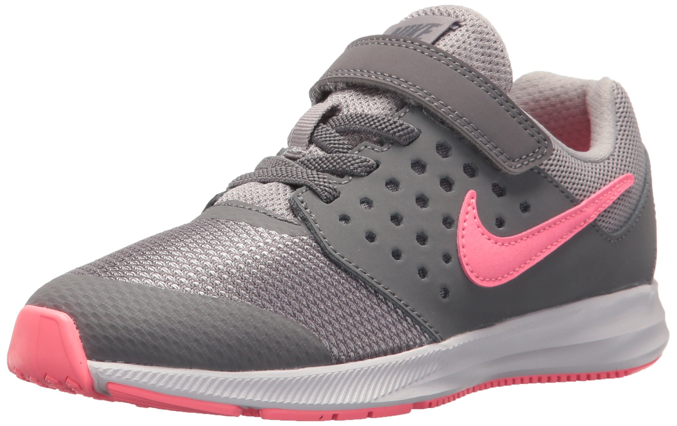 Nike Girls' Downshifter 7 (PSV) Running Shoe Gunsmoke/Sunset Pulse - Atmosphere Grey 1 M US Little Kid by Nike (Image #1)