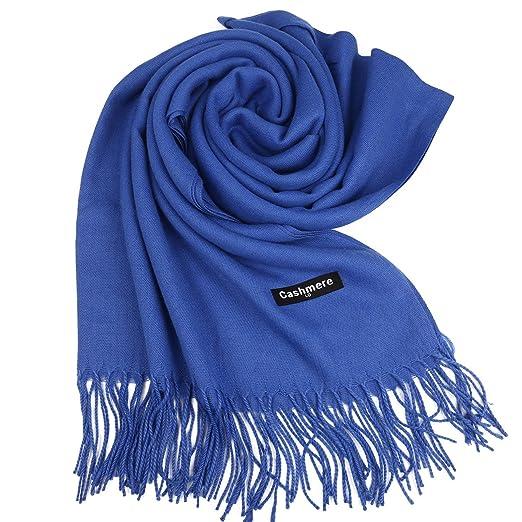 3d64ccc3f27 ISASSY Écharpe Femme Chaud Doux Châle Cachemire Foulard Pashmina Plaid Uni  Hiver Bleu  Amazon.fr  Vêtements et accessoires