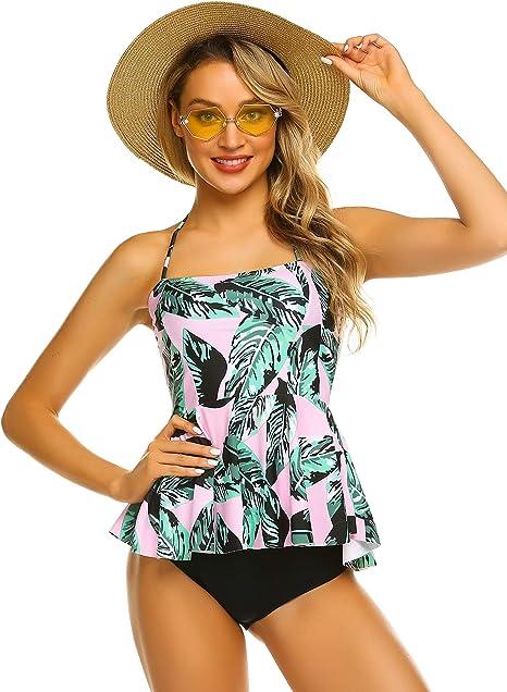Amazon.com: ADOME traje de baño de 2 piezas para mujer ...