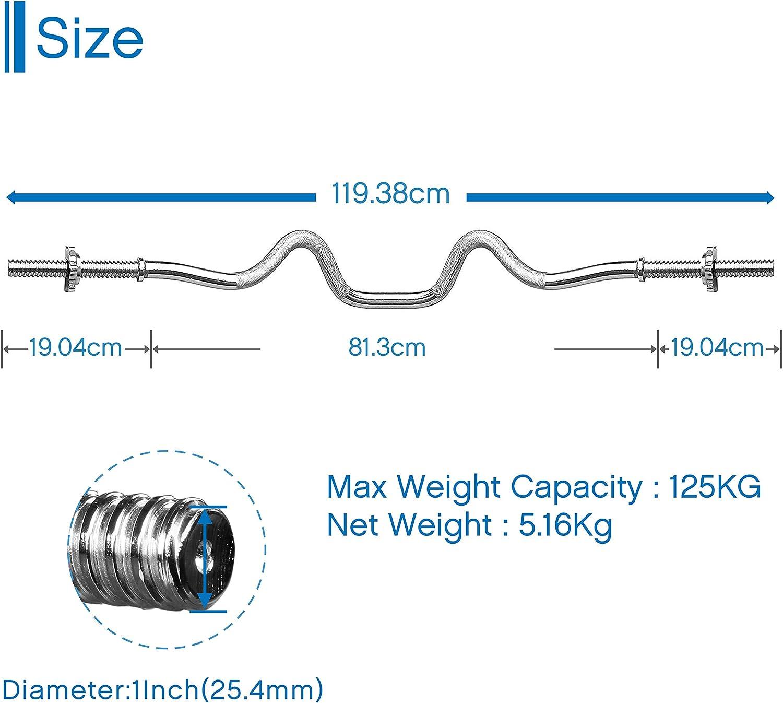 Essentials EZ Barre de curl 47 Barres dhalt/ères avec 2 Colliers UMI
