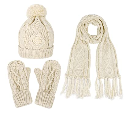71304676535 3 in 1 Soft Warm Thick Cable Hat Scarf   Gloves Winter Set at Amazon ...