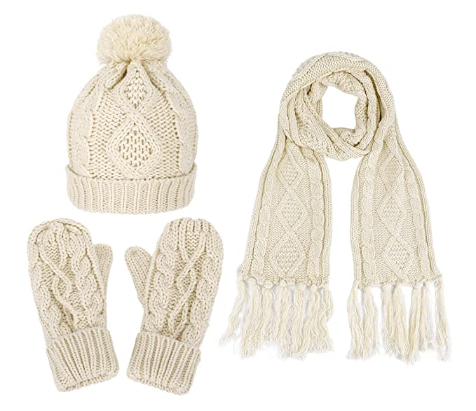 3 in 1 Soft Warm Thick Cable Hat Scarf   Gloves Winter Set at Amazon ... d29e5d52fb56