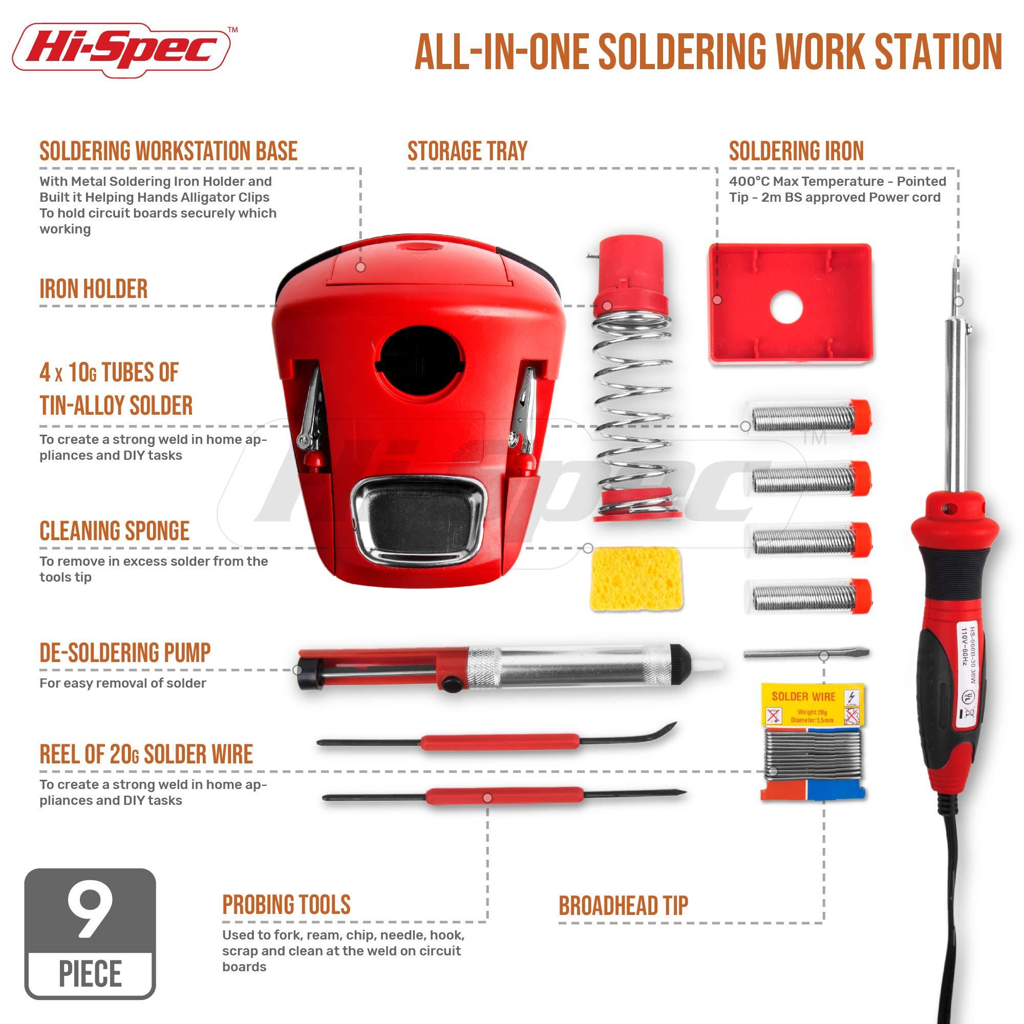 Hi-Spec All-In-One 30W Soldering Station inc. Soldering Iron, Helping Hands & 9pc Accessory Set - Desoldering Pump, Tin Alloy Solder, De-Solder Alloy & 2pc Solder Assist Tools by Hi-Spec (Image #1)
