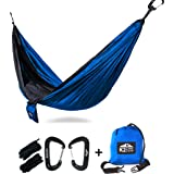 K2 Camp Gear - Original Camping Hammock - Premium Aluminum Carabiners and Hanging Ropes Included or Add-On Triple Stitched Tree Saver Straps