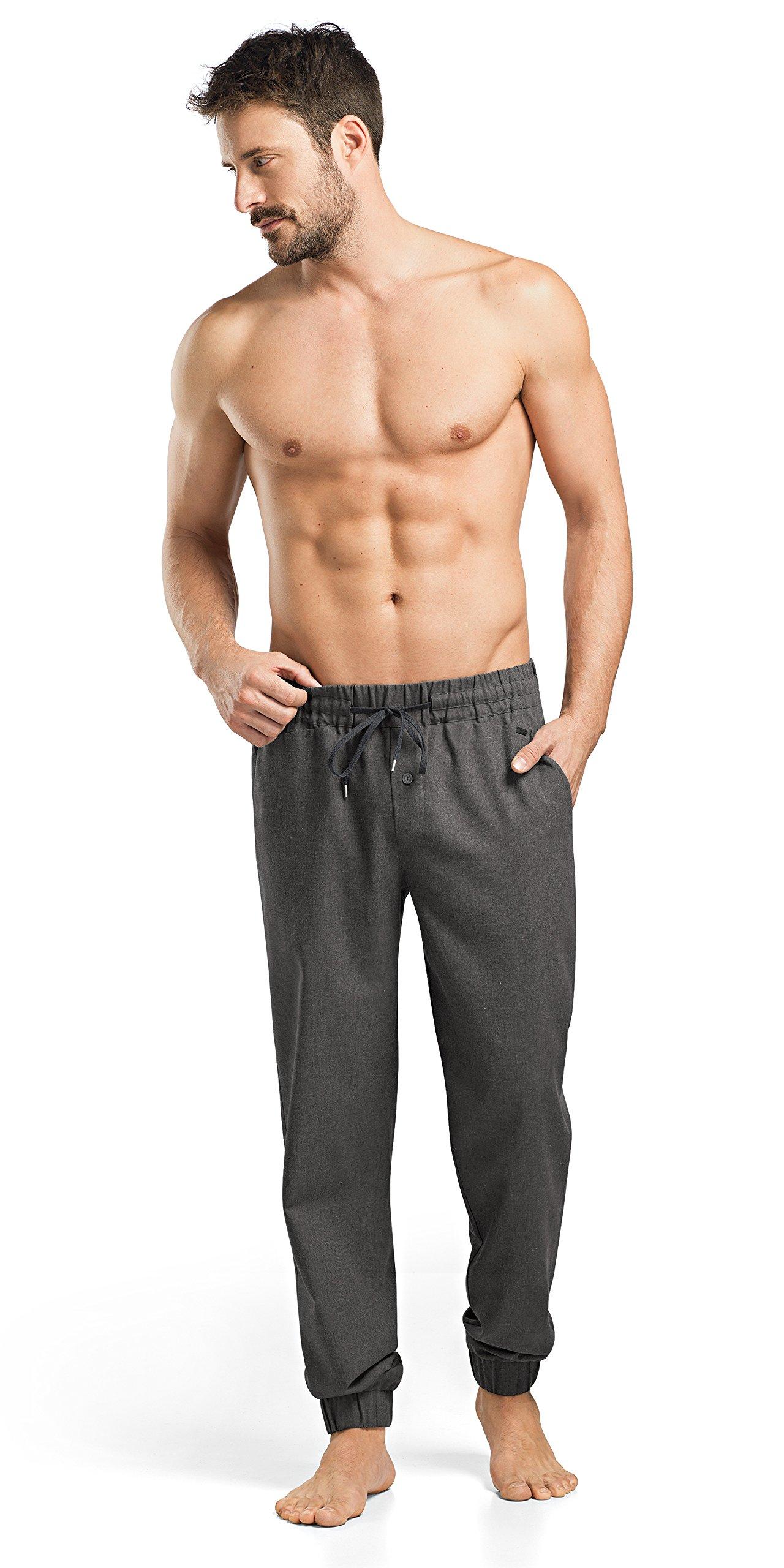 Hanro Men's Fynn Woven Flannel Pant, Dark Melange, Large