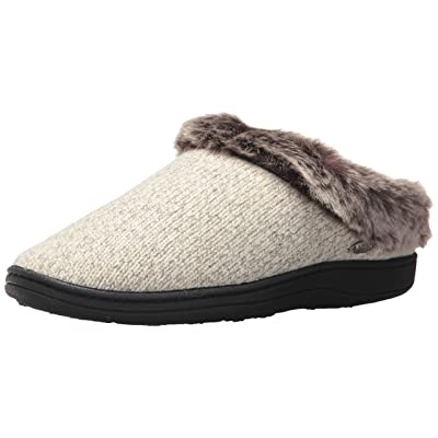 ACORN Women's Faux Fur Chinchilla Ragg Clog Slippers, charcoal heather, 6.5 US medium | Slippers