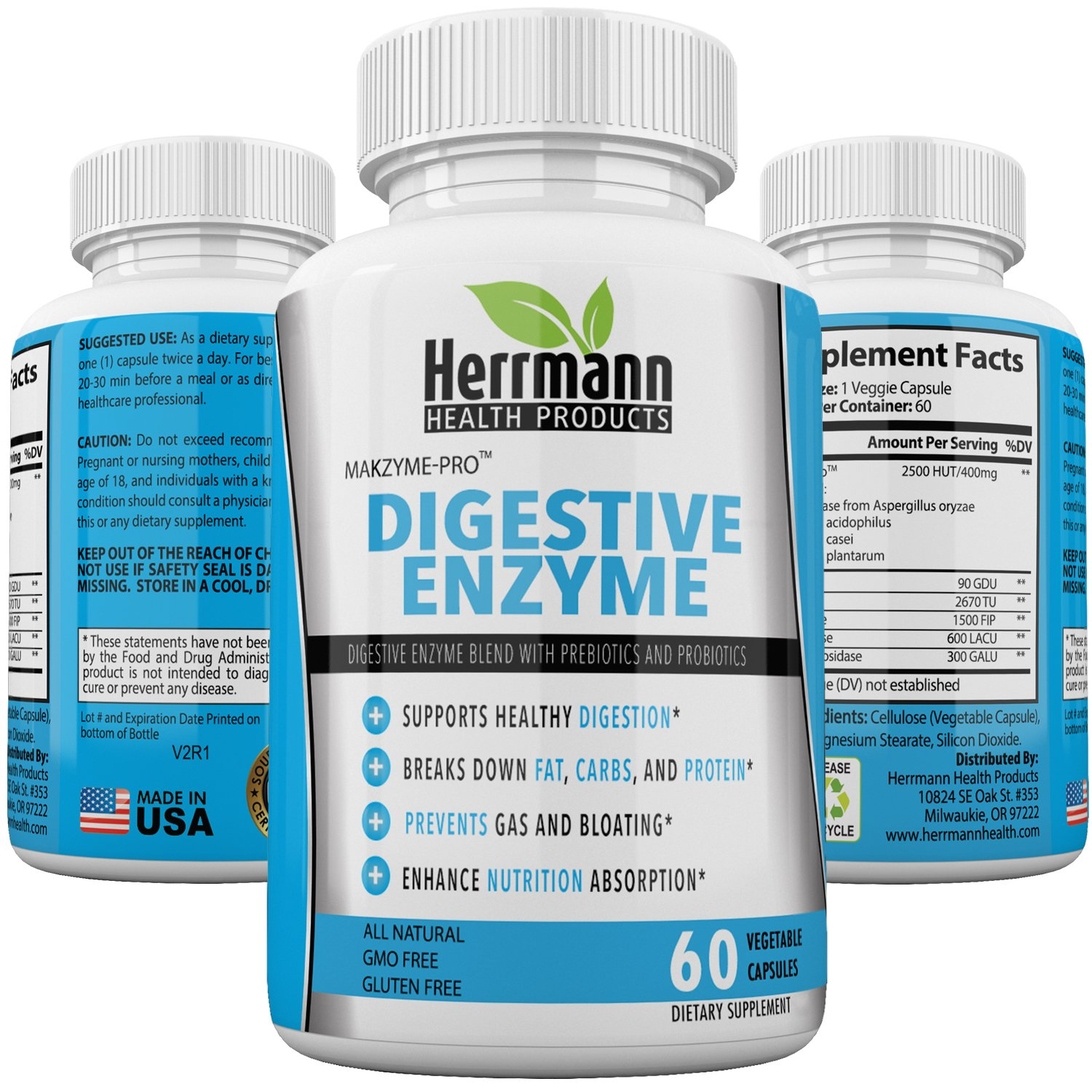 Powerful Digestive Enzymes Supplements Plus Prebiotics & Probiotics | Naturally Aids Better Digestion, Lactose & Nutrient Absorption, Bloating, Constipation, Gas Relief, IBS & Leaky Gut | Non GMO (60)