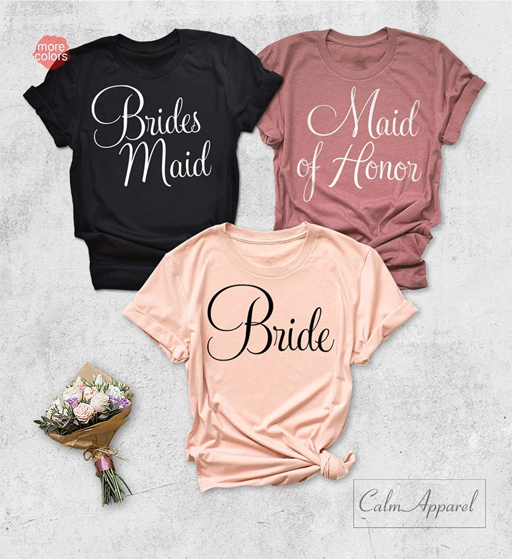 Bridesmaid Shirt Bride Squad Shirts Maid of Honor Bridal Party Tanks Bride Bachelorette Party T-Shirts