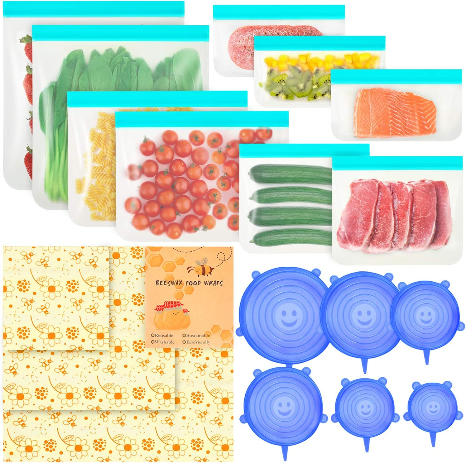 18 Pcs-Beeswax Wrap 3 Pcs & BPA FREE Reusable Food Wrap 9 Pcs & Silicone Stretch Lid 6 Pcs,Eco-Friendly Freezer Preservation Bags for Vegetable,Fruit,Snack,Lunch,Cereals.