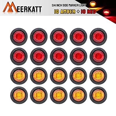 Meerkatt (Pack of 20) 3/4 Inch Mini Round 10 Amber + 10 Red LED Bullet Side Marker Clearance Lamp Indicator Light Flush Mount Kit Waterproof Camper Truck Boat Bus Pickup Trailer 12V DC Universal: Automotive