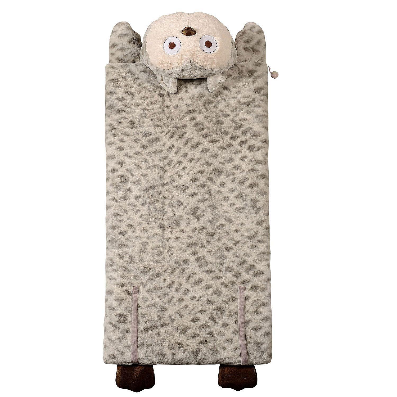 Kid's Plush Animal Sleeping Bag, Grey Owl