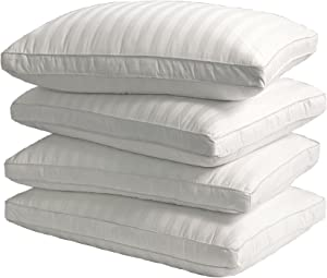 Blue Ridge Home Fashions 350 Thread Count Damask Stripe Pattern Down Alternative Pillow-4 Pack, Jumbo, White