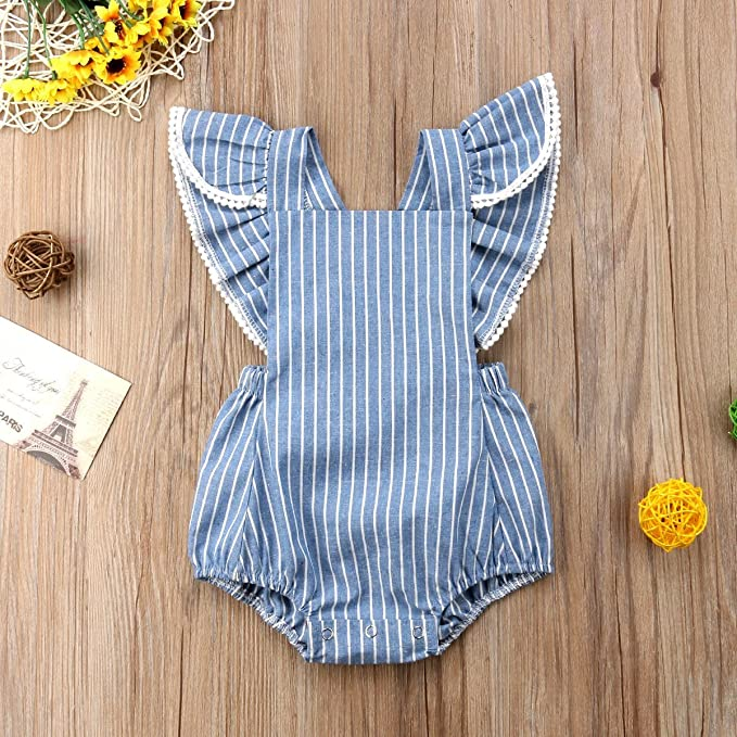 f062b5f649c Amazon.com  sweetyhouse Newborn Baby Girls Fly Sleeve Striped Romper  Bodysuit Infant Jumpsuit One Pieces Summer Outfit  Clothing