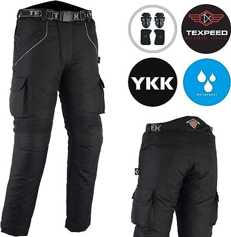 Toutes Tailles Pantalon de Moto renforc/é Noir uni imperm/éable W34 L34