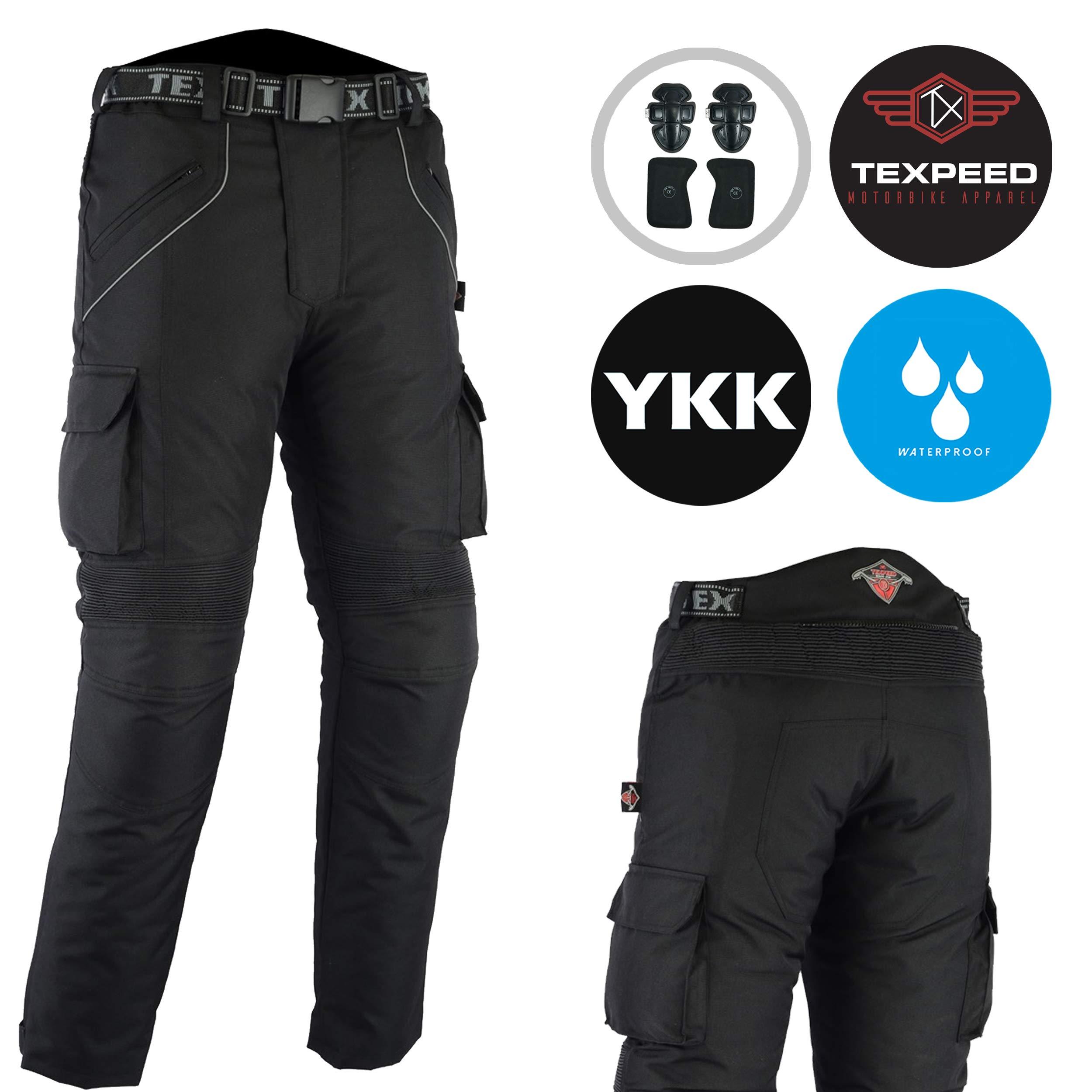 JET Motorcycle Motorbike Textile CE Armoured Waterproof Trousers Pants Zipper W44 L30, Black