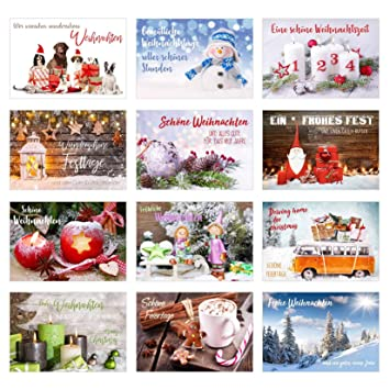 Weihnachtskarten Exklusiv.Set 12 Exklusive Premium Weihnachtskarten Mit Umschlag Doppelkarten Klappkarten Mit Briefumschlag Weihnachten Karte Postkarte Weihnachtspostkarte