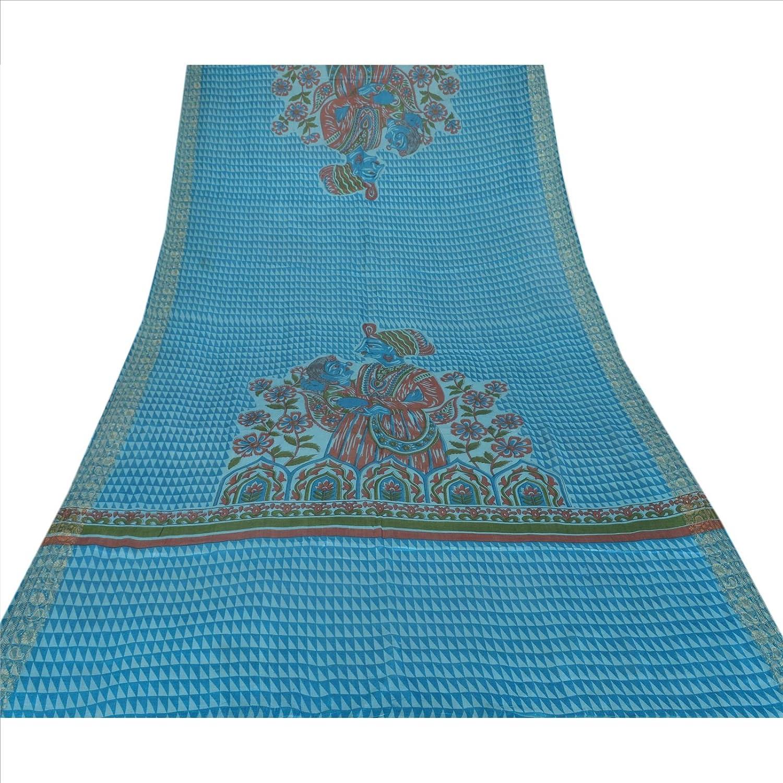100% Pure Tassar Silk New Long Stole Dupatta Blue Scarves Printed Wrap Veil