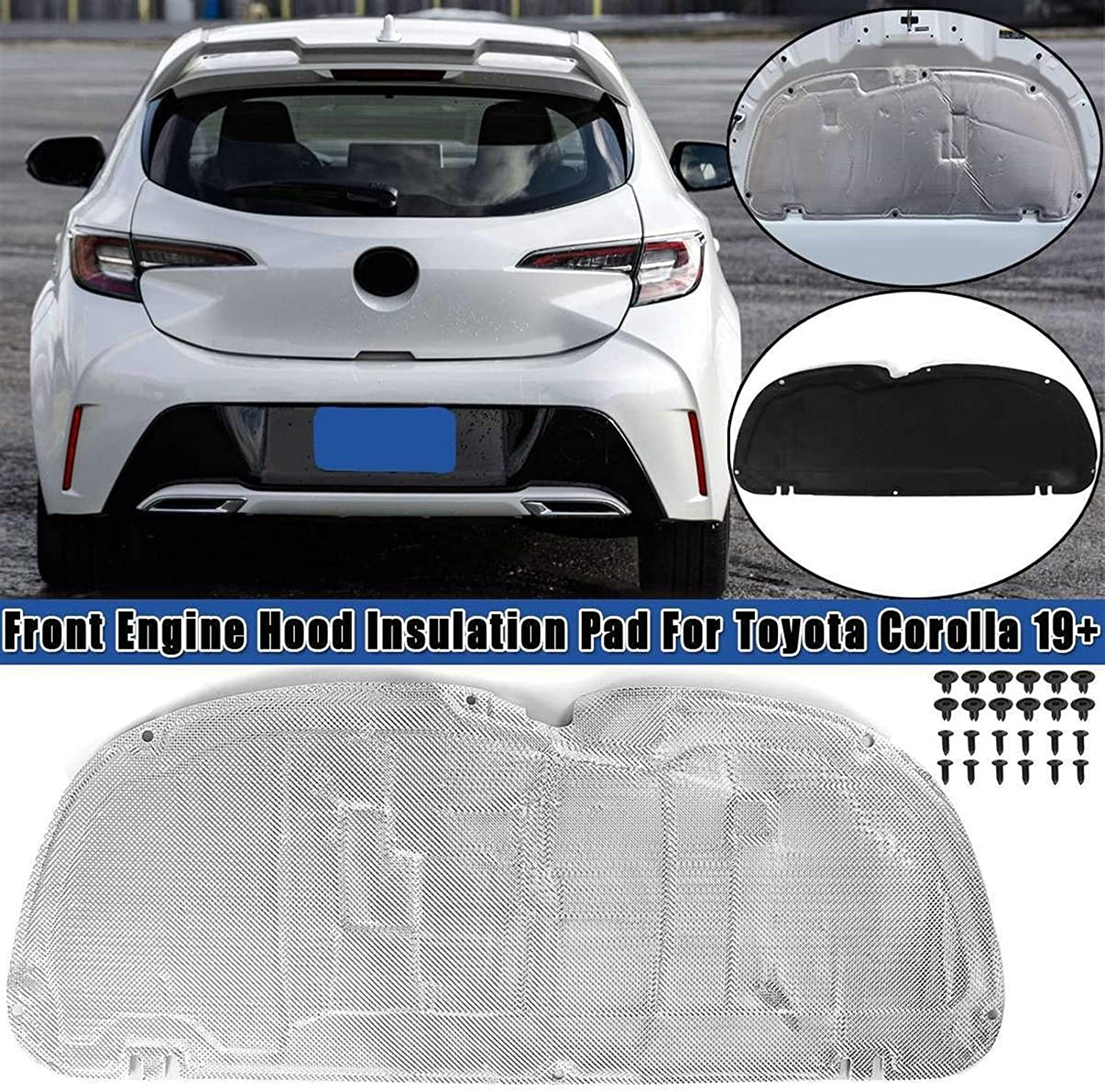 Color Name : Black Car Accessorie Wearable XUNLAN Durable Car Hood Engine Thermal Insulation Sound Insulation Cotton Heat Insulation Pad Mat Fits Fit for Toyota Corolla 2019
