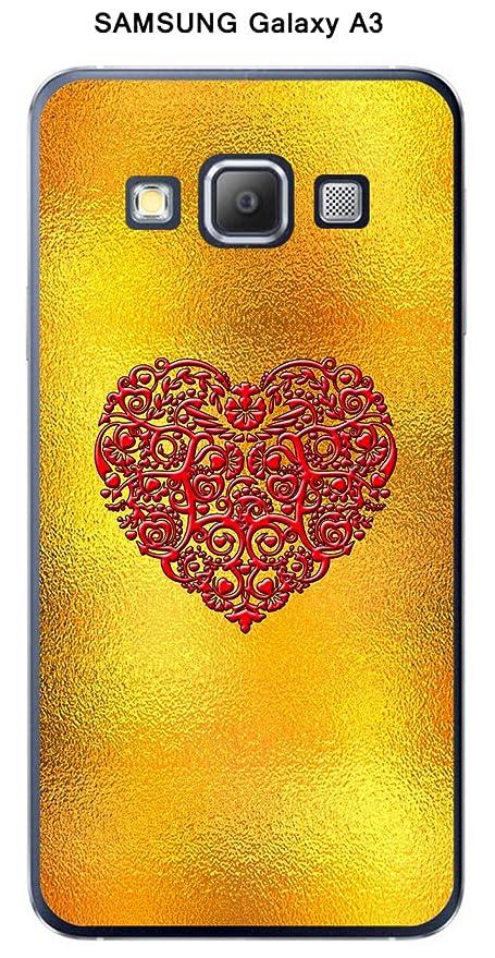 Onozo Carcasa Samsung Galaxy A3 Design fondo oro corazón ...